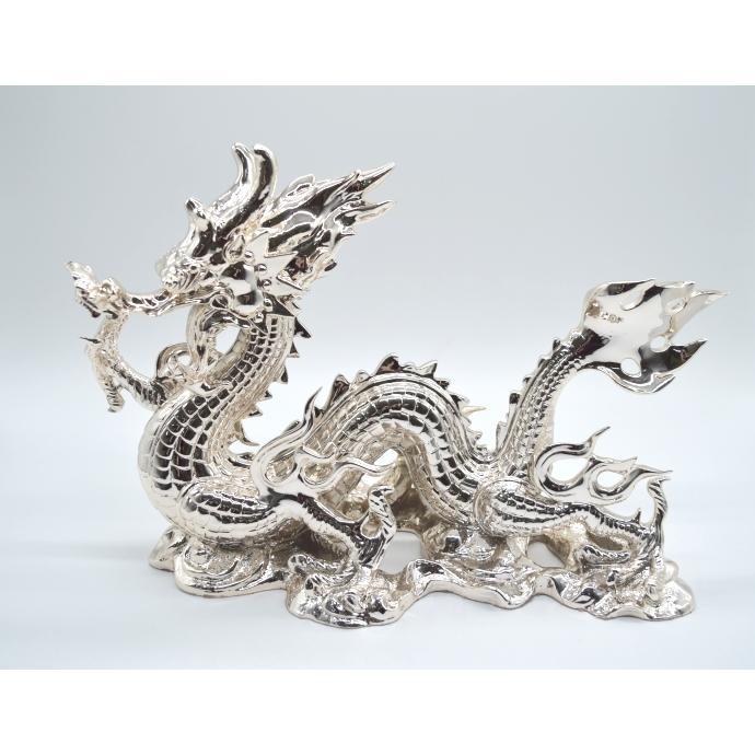 龍 銀色 樹脂製置物 艶あり 40cm|ryu|02