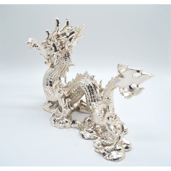 龍 銀色 樹脂製置物 艶あり 40cm|ryu|03