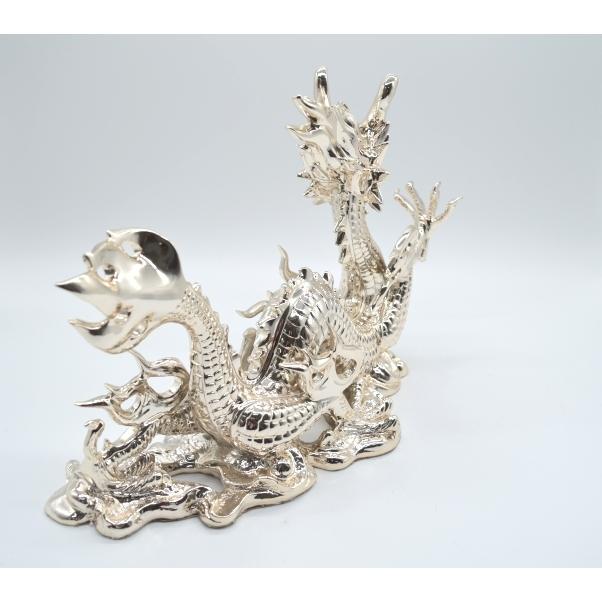 龍 銀色 樹脂製置物 艶あり 40cm|ryu|04