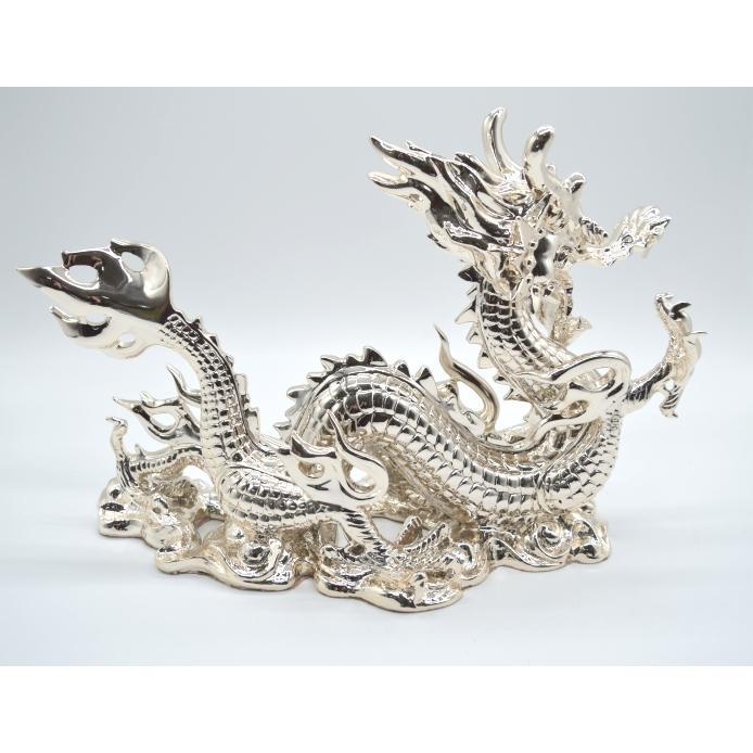 龍 銀色 樹脂製置物 艶あり 40cm|ryu|05