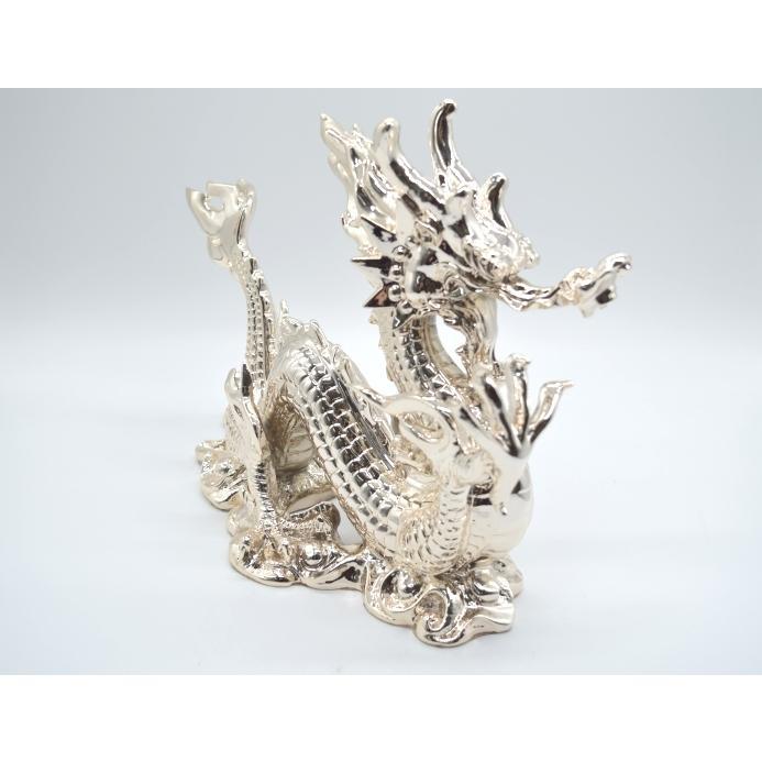 龍 銀色 樹脂製置物 艶あり 40cm|ryu|06