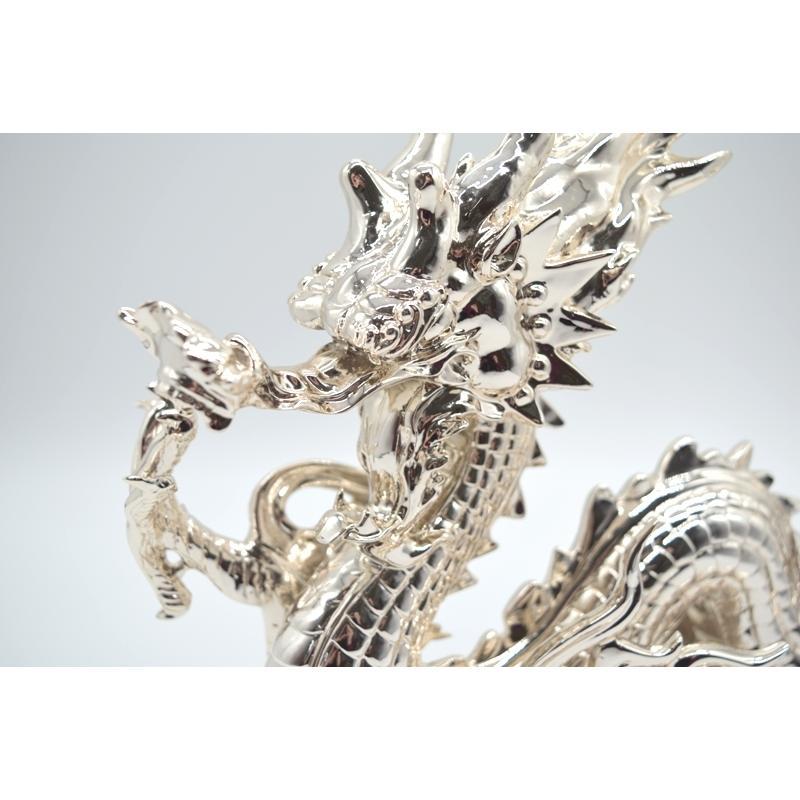 龍 銀色 樹脂製置物 艶あり 40cm|ryu|08