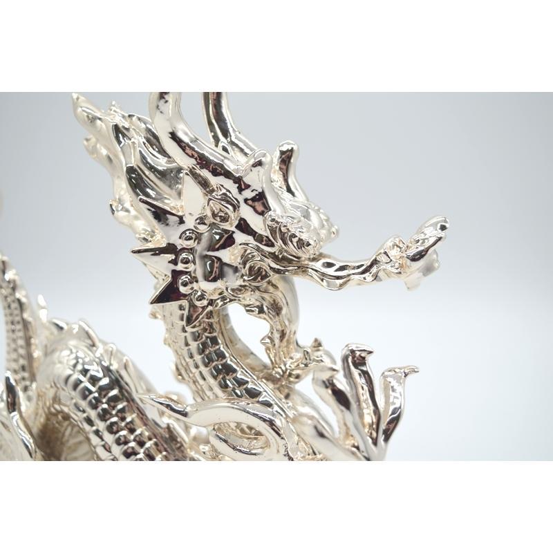 龍 銀色 樹脂製置物 艶あり 40cm|ryu|09