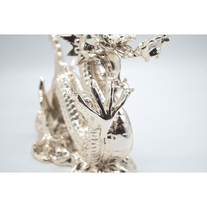 龍 銀色 樹脂製置物 艶あり 40cm|ryu|10