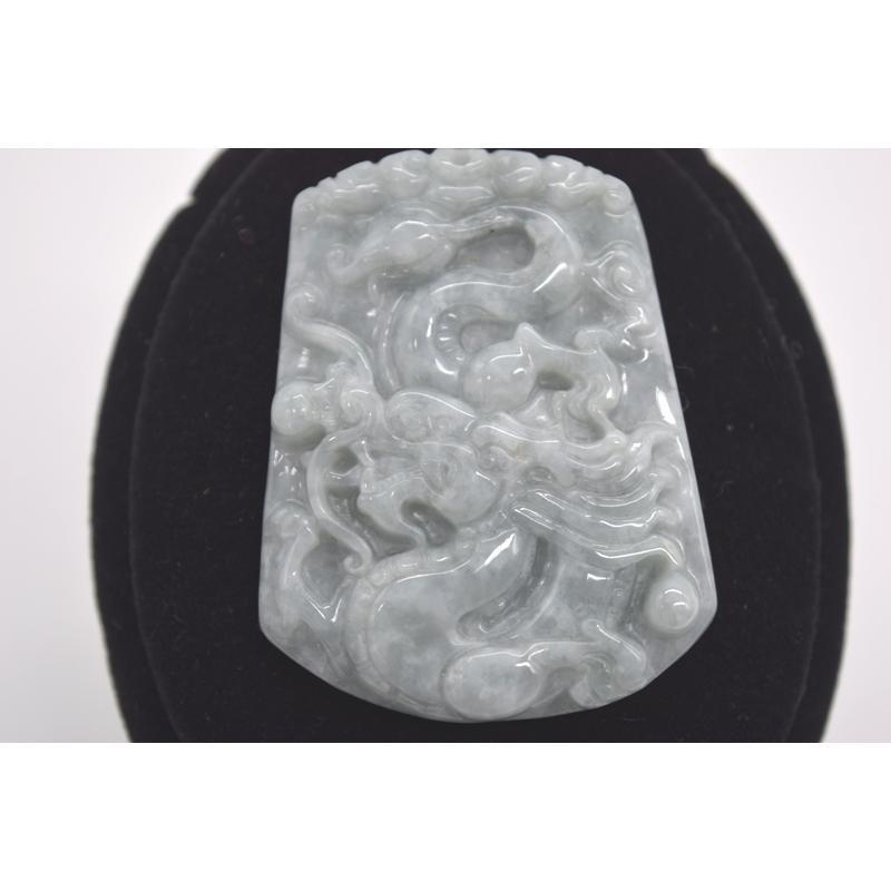 龍彫りプレート ペンダントヘッド ジェイド 翡翠 パワーストーン 天然石パーツ 5cm|ryu|02
