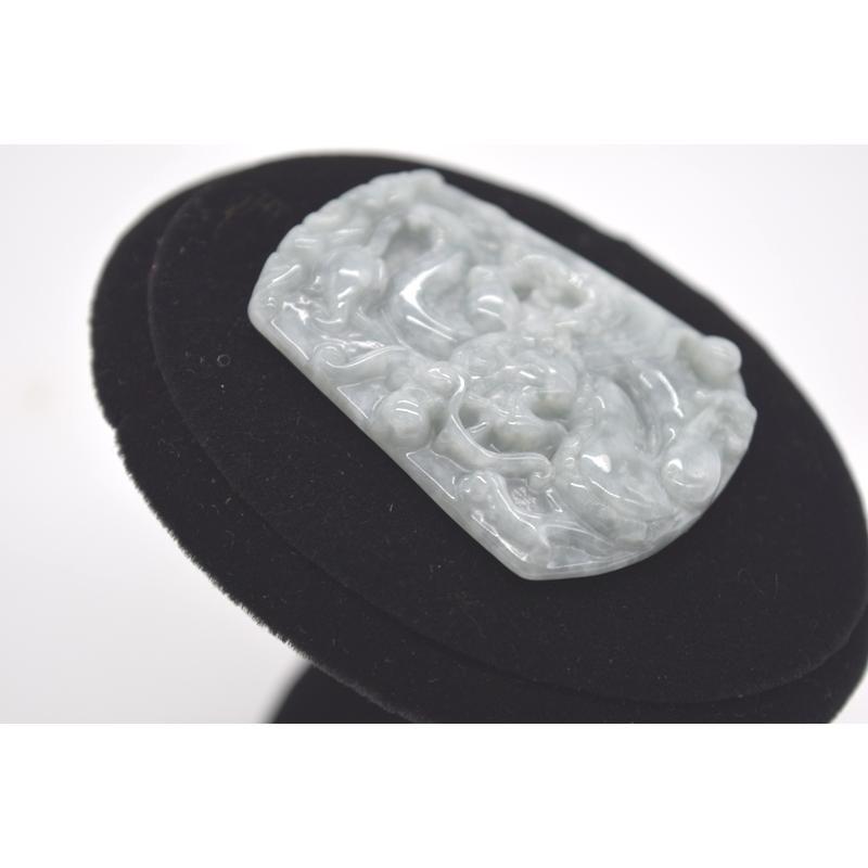 龍彫りプレート ペンダントヘッド ジェイド 翡翠 パワーストーン 天然石パーツ 5cm|ryu|04