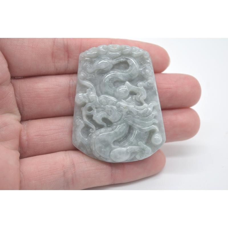 龍彫りプレート ペンダントヘッド ジェイド 翡翠 パワーストーン 天然石パーツ 5cm|ryu|05
