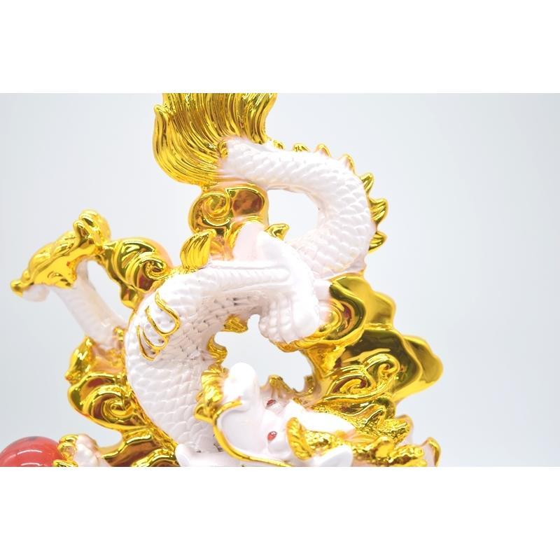 龍 白 8型 重ね8 樹脂製置物 台座付き 招財進宝 末広がり 28cm ryu 13