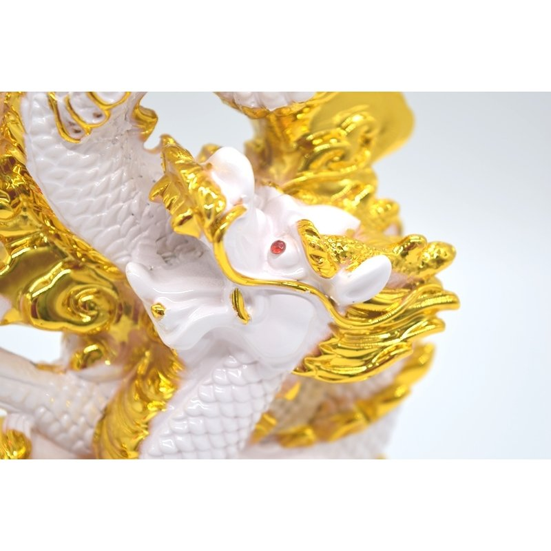 龍 白 8型 重ね8 樹脂製置物 台座付き 招財進宝 末広がり 28cm ryu 10