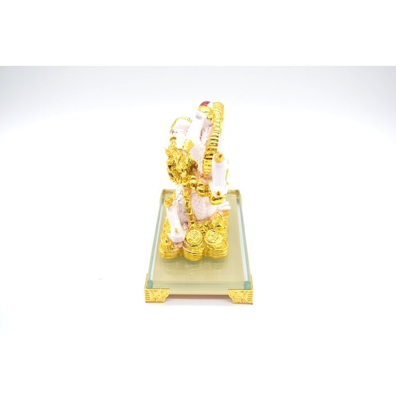 龍 8型 ガラス台座付き 白 樹脂製置物 末広がり 如意宝珠 15cm ryu 03