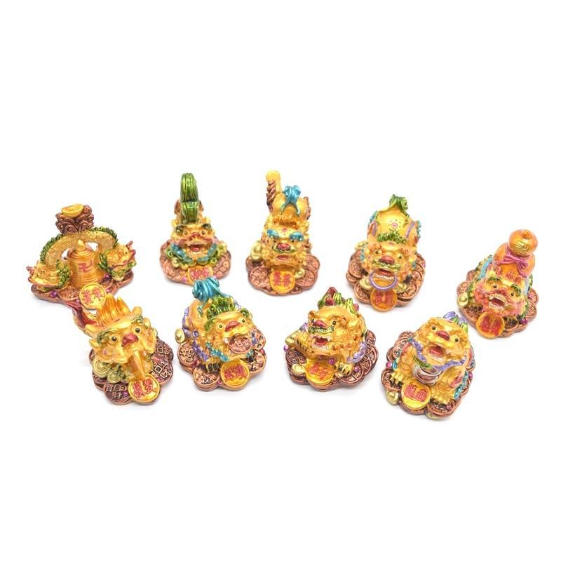 竜生九子 9個セット カラフル 樹脂製置物 龍の子 彩色済み 5cm ryu