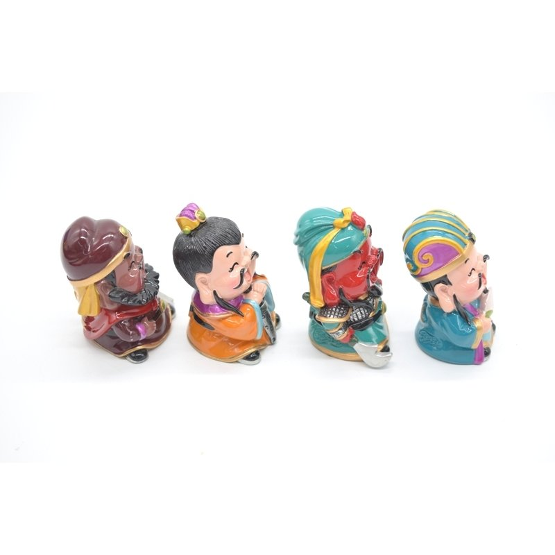 三国志 張飛 劉備 関羽 孔明 樹脂製置物 マスコット人形 4個セット かわいい人形置物 7cm|ryu|03
