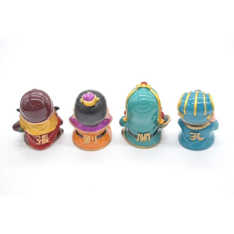 三国志 張飛 劉備 関羽 孔明 樹脂製置物 マスコット人形 4個セット かわいい人形置物 7cm|ryu|04