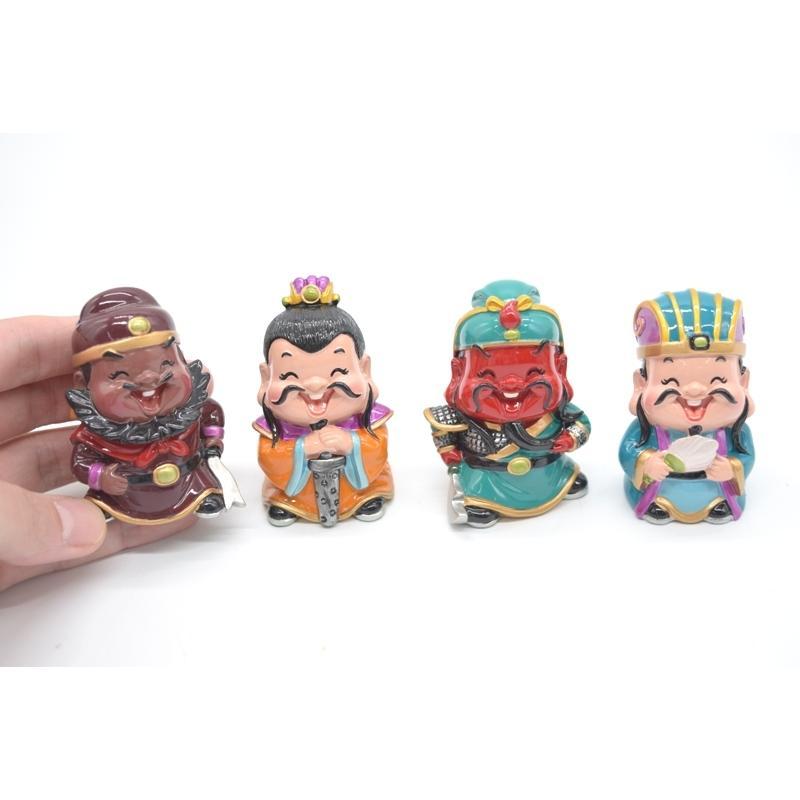 三国志 張飛 劉備 関羽 孔明 樹脂製置物 マスコット人形 4個セット かわいい人形置物 7cm|ryu|05