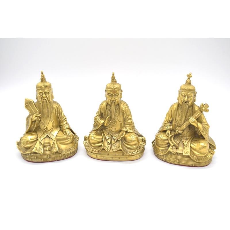 三清道祖 道徳天尊 神元始天尊 霊宝天尊 銅製置物 三柱セット 16cm|ryu