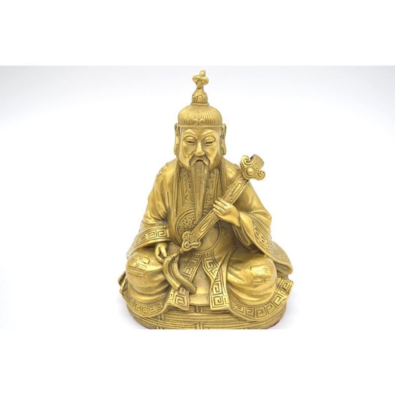 三清道祖 道徳天尊 神元始天尊 霊宝天尊 銅製置物 三柱セット 16cm|ryu|08