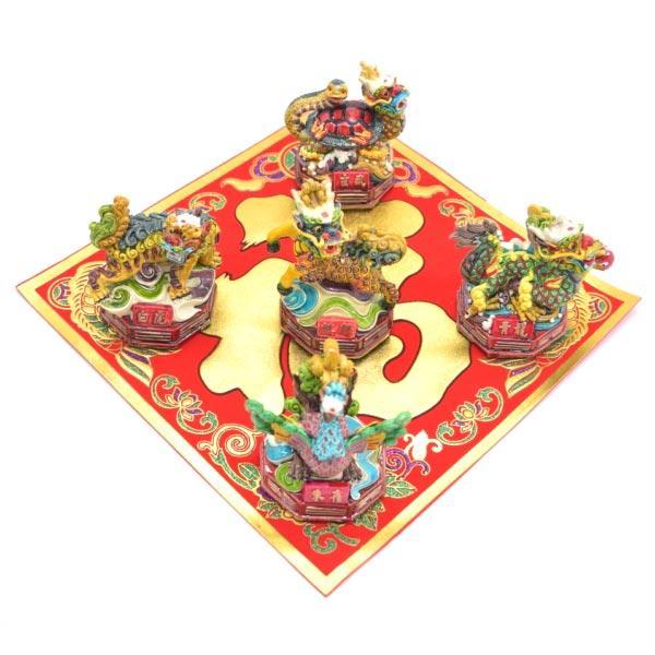 青龍 白虎 朱雀 玄武 麒麟 五神セット 四神相応 彩色済み 樹脂製置物 9cm|ryu