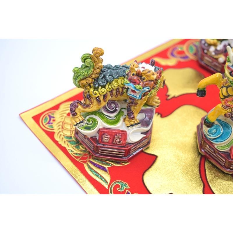 青龍 白虎 朱雀 玄武 麒麟 五神セット 四神相応 彩色済み 樹脂製置物 9cm|ryu|04