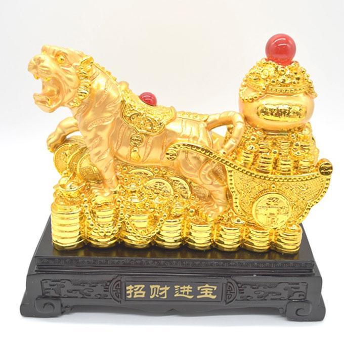 寅 虎 とら 樹脂製置物 聚宝盆 財宝牽き 台座付き 金色 十二支 21cm ryu