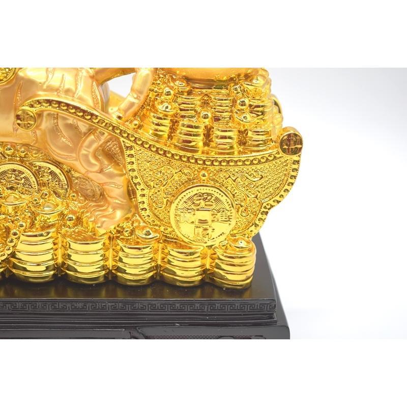 寅 虎 とら 樹脂製置物 聚宝盆 財宝牽き 台座付き 金色 十二支 21cm ryu 11