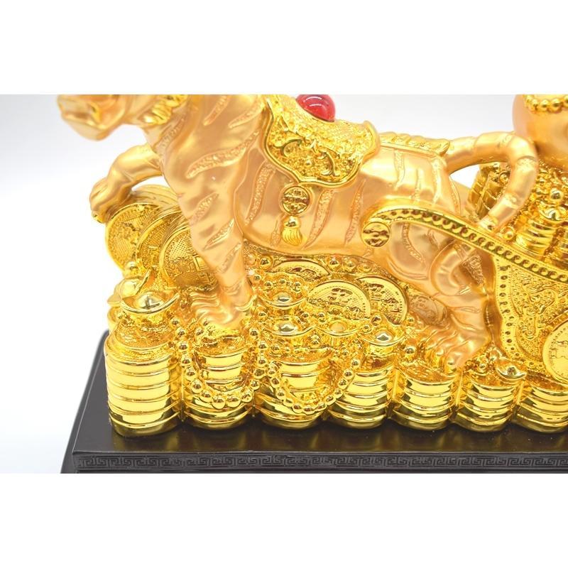 寅 虎 とら 樹脂製置物 聚宝盆 財宝牽き 台座付き 金色 十二支 21cm ryu 12