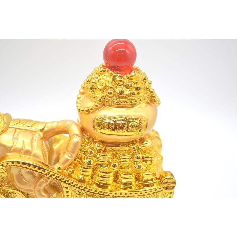 寅 虎 とら 樹脂製置物 聚宝盆 財宝牽き 台座付き 金色 十二支 21cm ryu 10