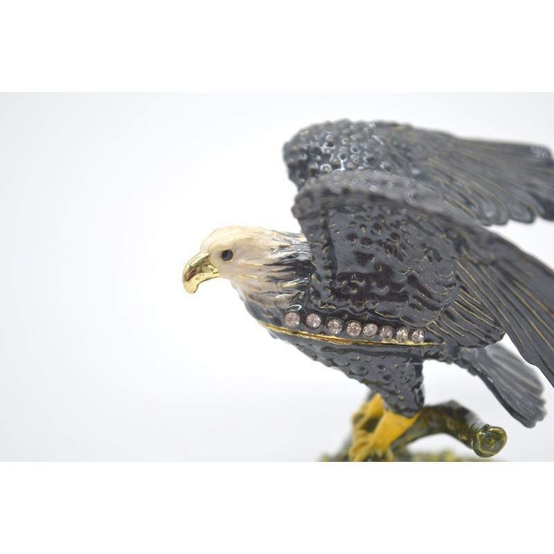 鳥 鷲 猛禽 七宝 金属製置物 翼 幸運 9cm|ryu|08