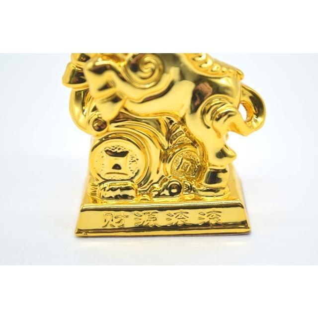 牛 丑 うし 樹脂製置物 台座付き 金色 コンパクトサイズ 8cm|ryu|08