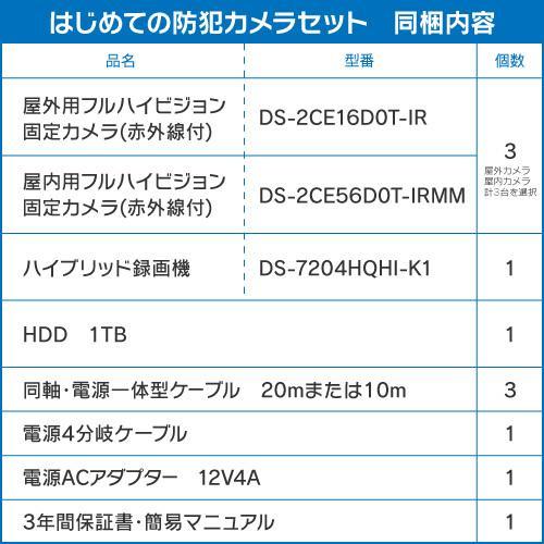 防犯カメラ 屋外 屋内 選べる 3台 4ch レコーダー セット HDD1TB付属  243万画素 HD-TVI FIXレンズ 赤外線カメラ 遠隔監視 s-guard 02