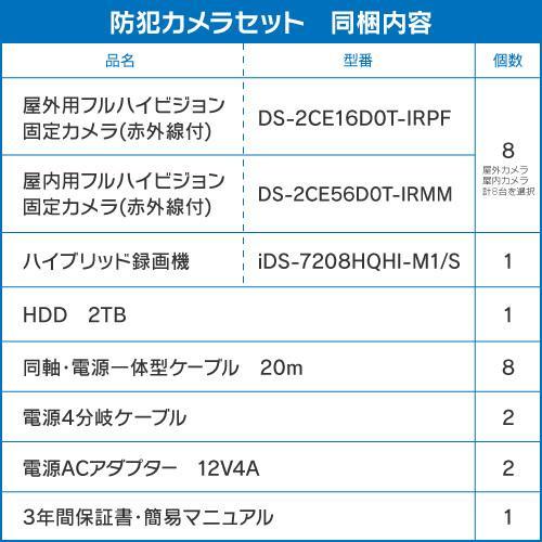 防犯カメラ 屋外 バレット 型 屋内 ドーム型 から 8台 選択 8ch レコーダーセット HDD2TB付属 監視カメラ 赤外線付き 屋内用セット 屋外用セット s-guard 02