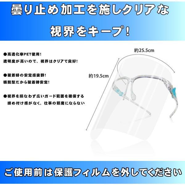 フェイスシールド メガネ型  20セット  国内発送 新型コロナウイルスやインフルエンザの飛沫感染予防に!|s-label|02