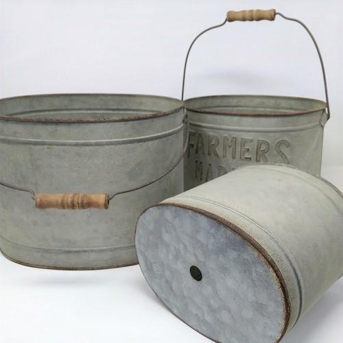 鉢 プランター ブリキ ブリキポット バケツ 植木鉢 鉢カバー ガーデニング雑貨 ファミエール・バケツSET3 CG-OE-29|s-toolbox|03