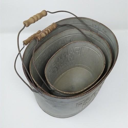鉢 プランター ブリキ ブリキポット バケツ 植木鉢 鉢カバー ガーデニング雑貨 ファミエール・バケツSET3 CG-OE-29|s-toolbox|05