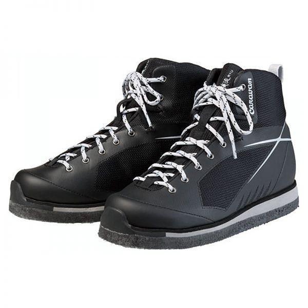 軽量 登山靴/トレッキングシューズ 〔ブラック 22.5cm〕 日本製フェルトソール 合皮/合成皮革 『渓流 ケイリュウ KR_5F』佐川急便で発送します