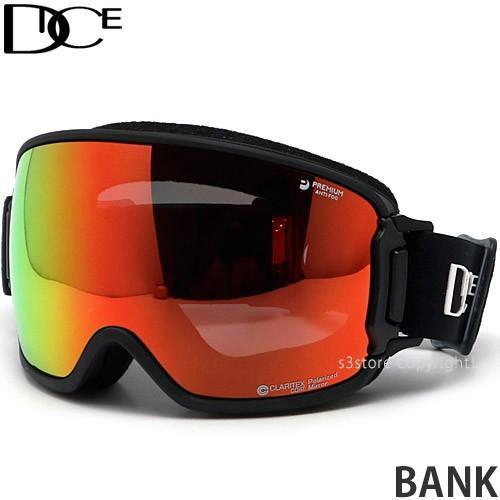 20model ダイス バンク DICE BANK スノーボード ゴーグル スノボ レンズ ミラー SNOW 日本製 フレーム:BK レンズ:MIT 赤/Pola Gray