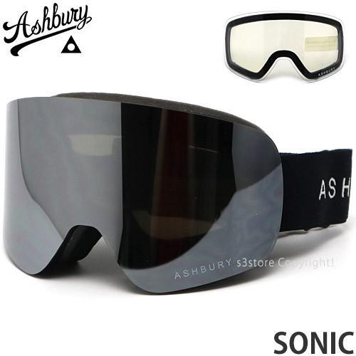アシュベリー ソニック ASHBURY SONIC スノーボード スノボー スキー ゴーグル 平面 フレームカラー:黒 レンズカラー:銀 MIRROR