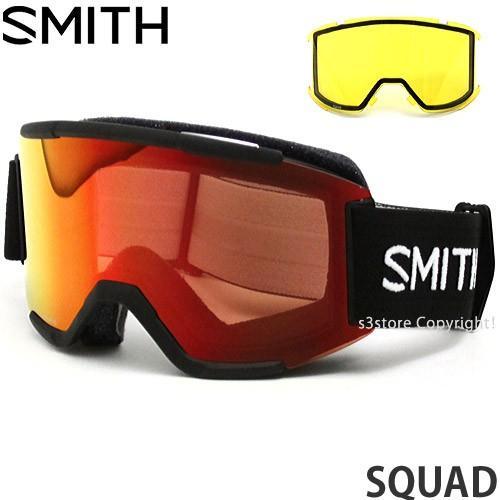 18model スミス スカッド ゴーグル SMITH SQUAD スノーボード 平面レンズ フレームカラー:黒 レンズカラー:CP EVERYDAY 赤 MIRROR