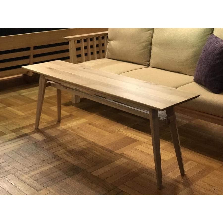 Living Table SA 幅144cm 選べる奥行2サイズ リビングテーブル ソファテーブル ナラ無垢材|sabisabi-web