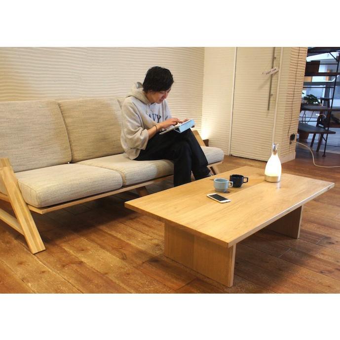 Low Table Torii 幅120cm ローテーブル 収納棚付き ナラ無垢材|sabisabi-web|04