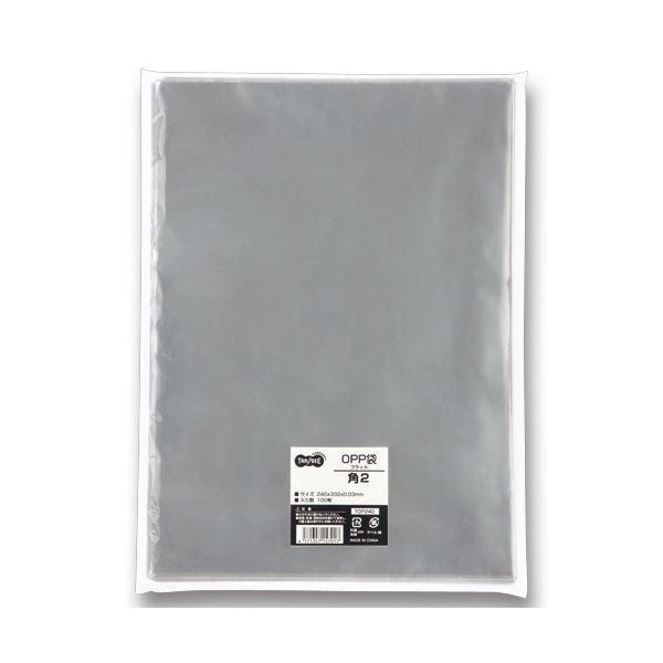 (まとめ) TANOSEE OPP袋 フラット 角2 240×332m 1セット(500枚:100枚×5パック) 〔×2セット〕