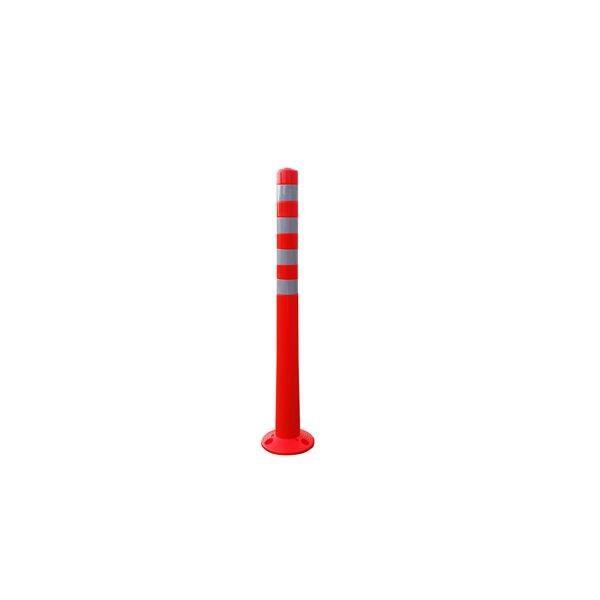 〔5本セット〕 ポリウレタン製視線誘導標/ソフトコーン 〔高さ1000mm〕 3点固定式 専用固定アンカーセット〔代引不可〕