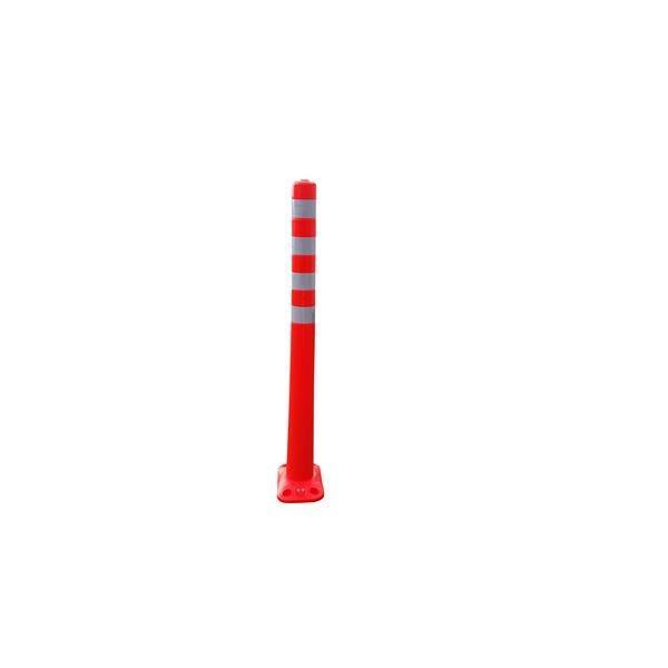 〔5本セット〕 ポリウレタン製視線誘導標/ソフトコーン 〔ベース式/4点固定〕 高さ1000mm 専用固定アンカーセット〔代引不可〕