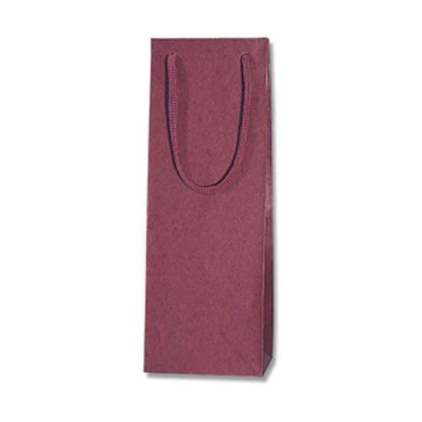 (まとめ)カラーチャームバック ワイン用紙袋 10枚入 L エンジ〔×5セット〕