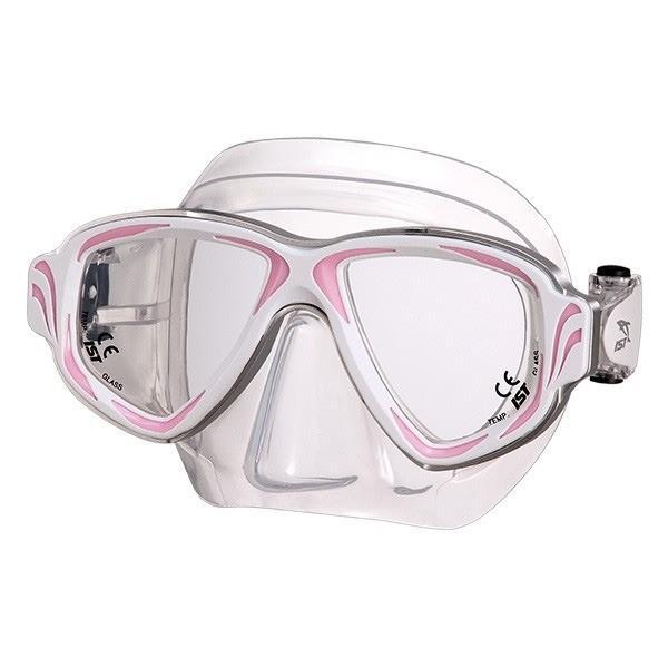 ダイビングマスク 〔W/P ピンク〕 2眼型 大人用 ハードケース付き 『SYNTHESIS IST PROLINE M-200』