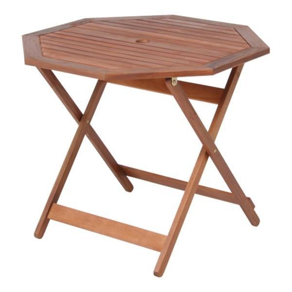 八角形テーブル/ガーデンテーブル 幅90cm 木製(アカシア/オイルステイン仕上げ) パラソル穴付き〔代引不可〕