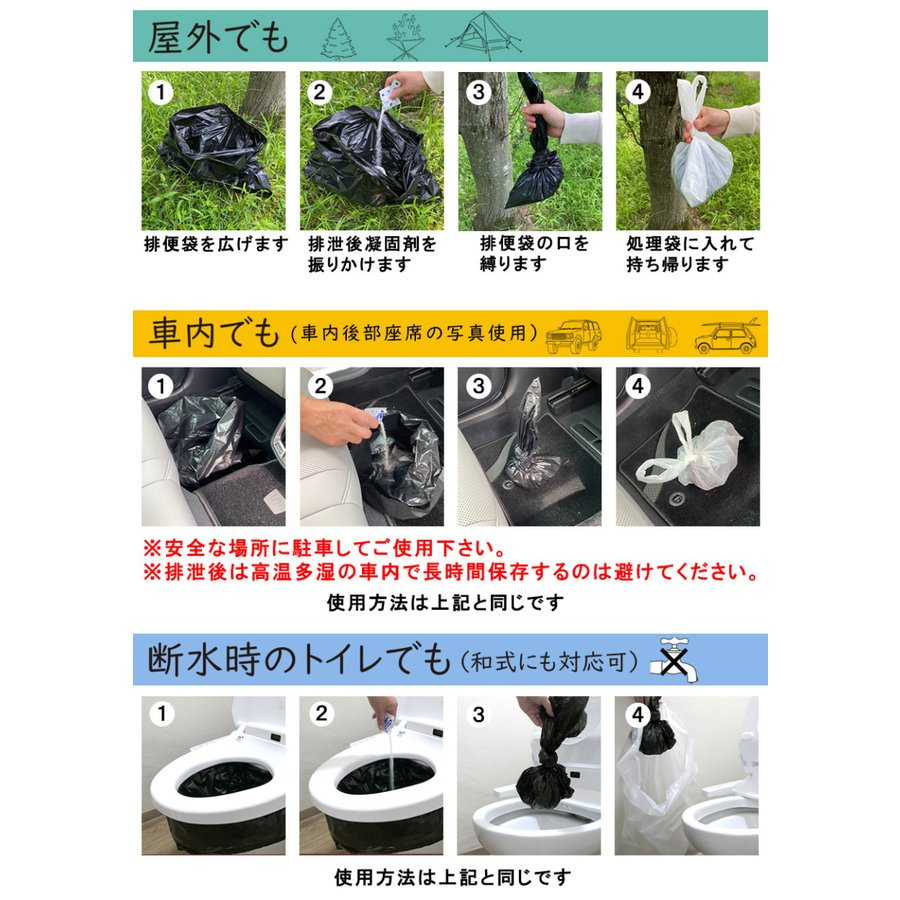 簡易トイレ 非常用トイレ SAFETY TOILET プチ 日本製 5回セット 10年保存 抗菌グレード 消臭 持ち運び袋付き 介護 備蓄 断水 防水パック 防災グッズ|safety-toilet|12