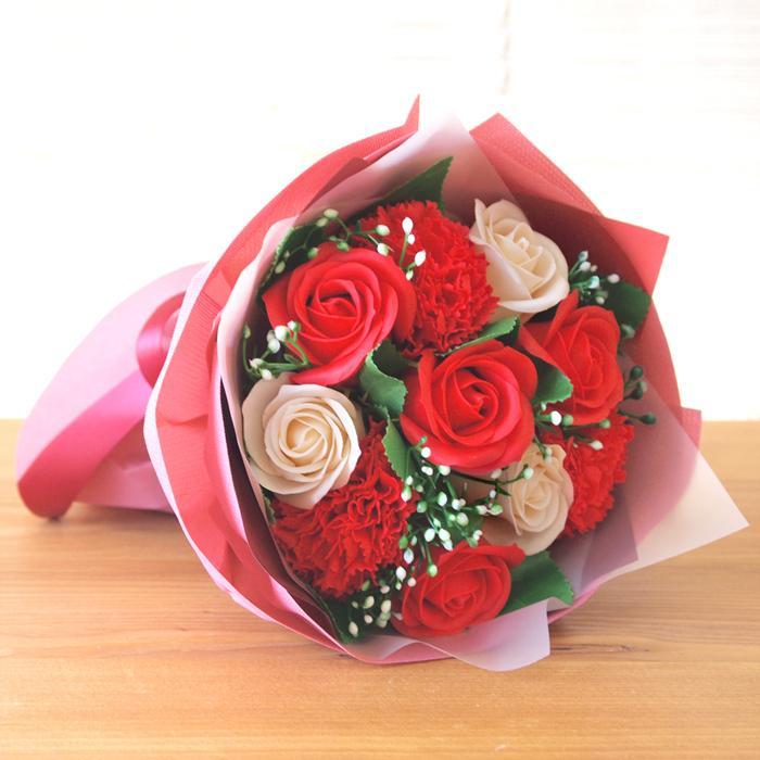 花束 ブーケ ソープフラワー 誕生日 プレゼント バースデー 花 造花 ギフト アレンジメント ひまわり 父の日 薔薇 日時指定OK saika 09