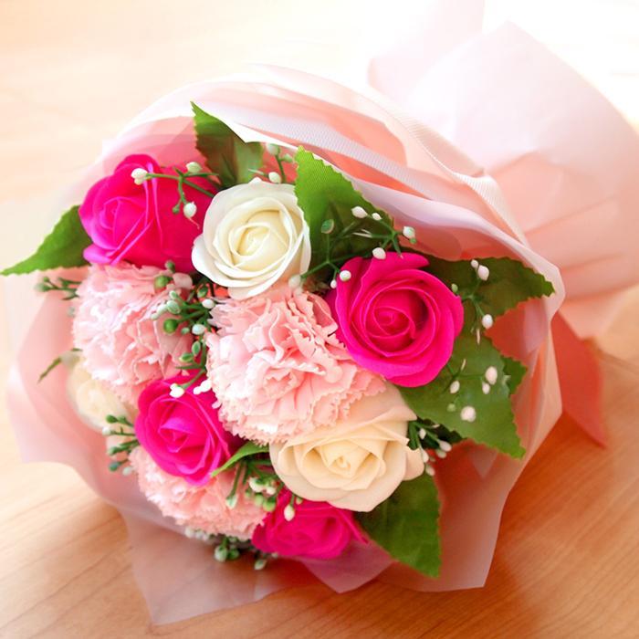 花束 ブーケ ソープフラワー 誕生日 プレゼント バースデー 花 造花 ギフト アレンジメント ひまわり 父の日 薔薇 日時指定OK saika 02