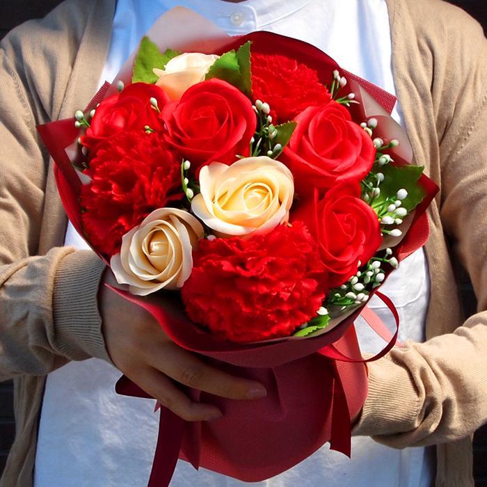 花束 ブーケ ソープフラワー 誕生日 プレゼント バースデー 花 造花 ギフト アレンジメント ひまわり 父の日 薔薇 日時指定OK saika 08