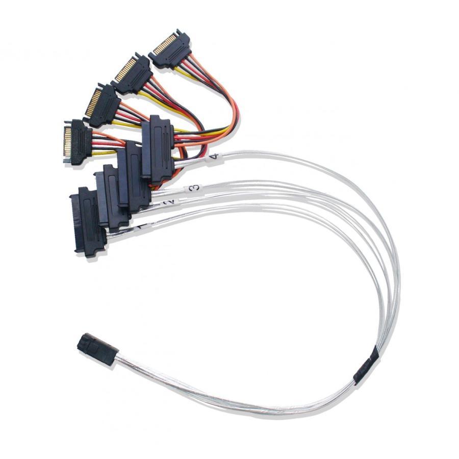 miniSAS HD → SAS/SATA ファンアウトケーブル SATA電源 50cm saj-directstore 04